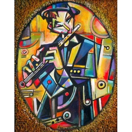 Israel Rubinstein - Kleizmer   Jewish Art Oil Painting Gallery