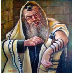 Israel Rubinstein - Tefilin | Jewish Art Oil Painting Gallery