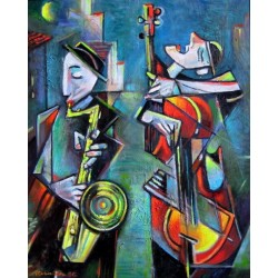 Israel Rubinstein - Kliezmer Duo | Jewish Art Oil Painting Gallery