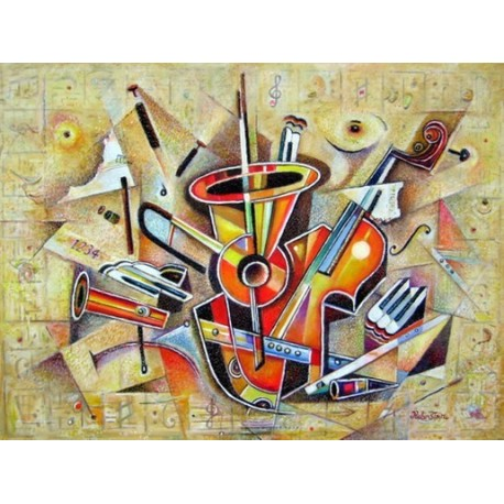 Israel Rubinstein - Music III | Jewish Art Oil Painting Gallery