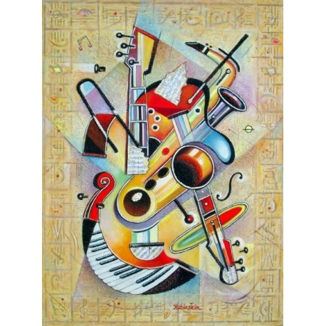 Israel Rubinstein - Music IV | Jewish Art Oil Painting Gallery