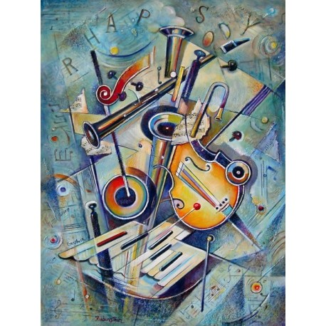 Israel Rubinstein - Music VI | Jewish Art Oil Painting Gallery