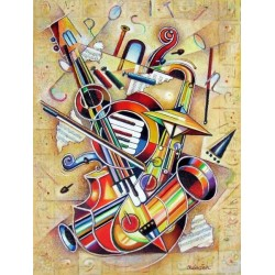 Israel Rubinstein - Music VII | Jewish Art Oil Painting Gallery