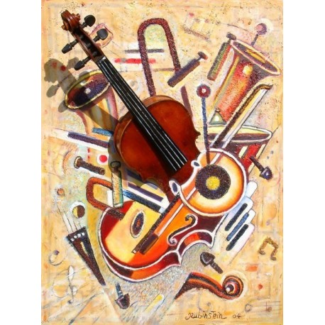 Israel Rubinstein - Music VIII | Jewish Art Oil Painting Gallery