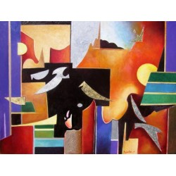 Israel Rubinstein - Abstract Birds | Jewish Art Oil Painting Gallery