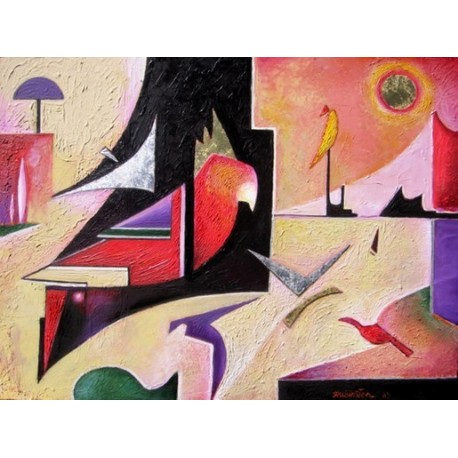 Israel Rubinstein -Parrot Abstract | Jewish Art Oil Painting Gallery