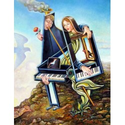 Israel Rubinstein - Bride & Groom | Jewish Art Oil Painting Gallery