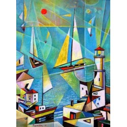 Israel Rubinstein - Telaviv Harbor | Jewish Art Oil Painting Gallery