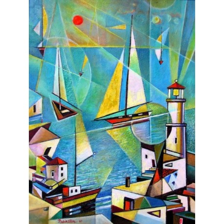 Israel Rubinstein - Telaviv Harbor | Jewish Art Oil Painting Gallery
