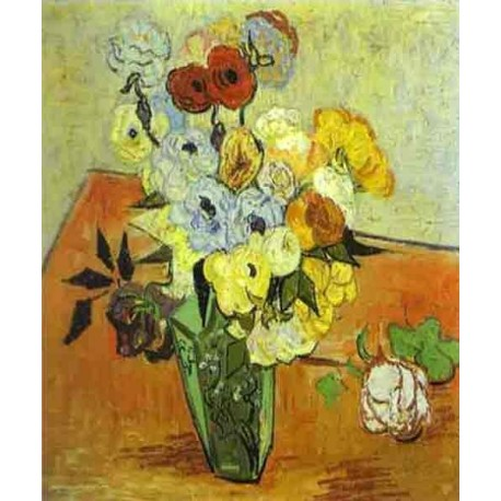 Roses and Anemnes by Vincent Van Gogh - Art gallery oil painting reproductions