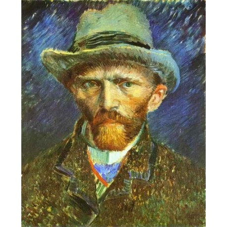 Self Portrait in a Grey Felt Hat by Vincent Van Gogh - Art gallery oil painting reproductions