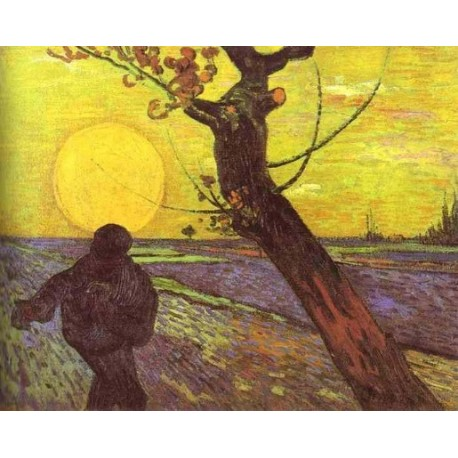 Sower with Setting Sun After Millet by Vincent Van Gogh- Art gallery oil painting reproductions
