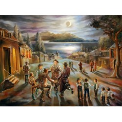 Steve Karro - Blessing on the moon | Jewish Art Oil Painting Gallery