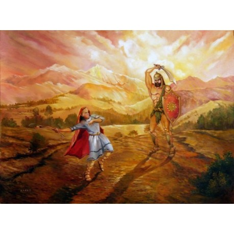 Steve Karro - David & Goliath | Jewish Art Oil Painting Gallery