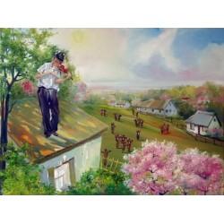 Steve Karro - Fiddler in N.Y | Jewish Art Oil Painting Gallery