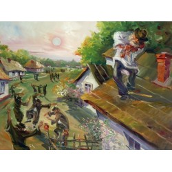 Steve Karro - Fiddler in Russia | Jewish Art Oil Painting Gallery