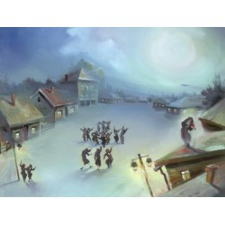 Steve Karro - Fiddler on the Roof III | Jewish Art Oil Painting Gallery