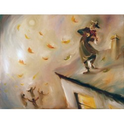 Steve Karro - Fiddler on the Roof II | Jewish Art Oil Painting Gallery