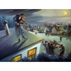 Steve Karro - Fiddler on the Roof | Jewish Art Oil Painting Gallery