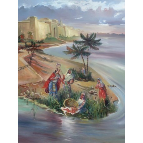 Steve Karro - Finding Baby Moses | Jewish Art Oil Painting Gallery