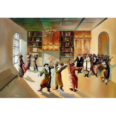 Steve Karro - Hasidic Dance II   Jewish Art Oil Painting Gallery