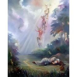 Steve Karro - Jacobs Ladder   Jewish Art Oil Painting Gallery