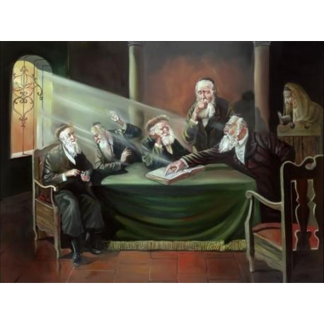 Steve Karro - Rabbis Learning II | Jewish Art Oil Painting Gallery