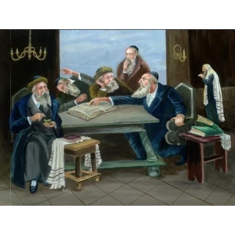 Steve Karro - Rabbis Learning | Jewish Art Oil Painting Gallery