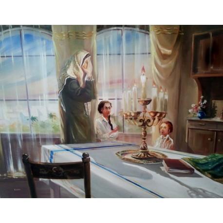 Steve Karro - Shabbat candles   Jewish Art Oil Painting Gallery