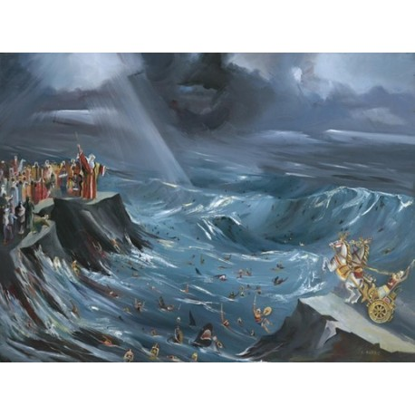 Steve Karro - Splitting the Sea | Jewish Art Oil Painting Gallery