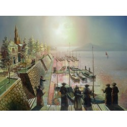 Steve Karro - Tashlich in Europe | Jewish Art Oil Painting Gallery