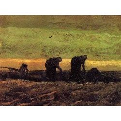 Two Peasant Women in the Peat Field by Vincent Van Gogh - Art gallery oil painting reproductions