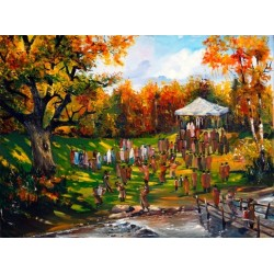 Steve Karro - Wedding in the Garden | Jewish Art Oil Painting Gallery