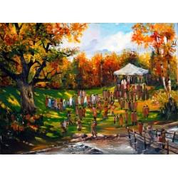 Steve Karro - Wedding in the Garden | Jewish Art Oil Painting Gallery