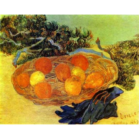 Still Life with Gloves and Pine Branch by Vincent Van Gogh - Art gallery oil painting reproductions