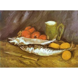 Still Life with Mackerels by Vincent Van Gogh - Art gallery oil painting reproductions