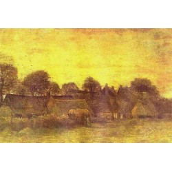 Village at Sunset by Vincent Van Gogh - Art gallery oil painting reproductions