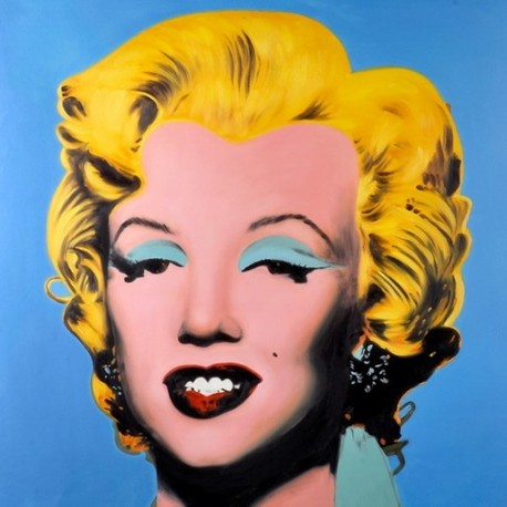 A blue marlyn monroe by andy warhol oil painting for Andy warhol famous paintings