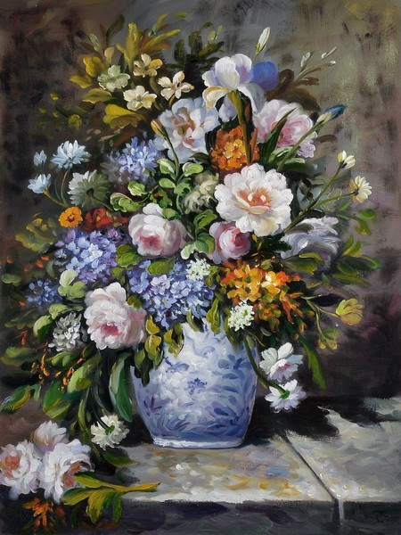 Judaica Art & Vase of Flowers by Pierre-Auguste Renoir oil painting art gallery