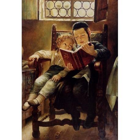 Elena Flerova - Brothers Studying | Jewish Art Oil Painting Gallery