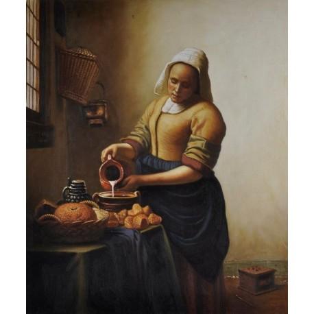The Milkmaid, circa 1658-60 by Johannes Vermeer -oil painting art gallery