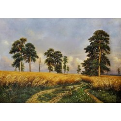 Russian Rye Field by Ivan Ivanovich Shishkin - oil painting art gallery