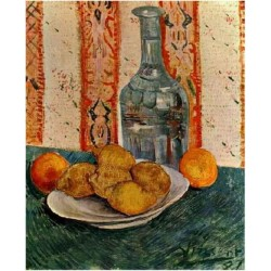 Still Life With Decanter And Lemons On A Plate by Vincent Van Gogh - Art gallery oil painting reproductions