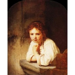 A Young Girl Leaning on a Window Sill by Rembrandt Van Rijn-Art gallery oil painting reproductions