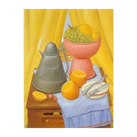 Still Life with Coffee Pot By Fernando Botero - Art gallery oil painting reproductions