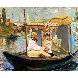 Cluade Monet Working on His Boat by Edouard Manet - Art gallery oil painting reproductions