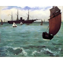 Fishing Boat Coming in Before the Wind by Edouard Manet - Art gallery oil painting reproductions