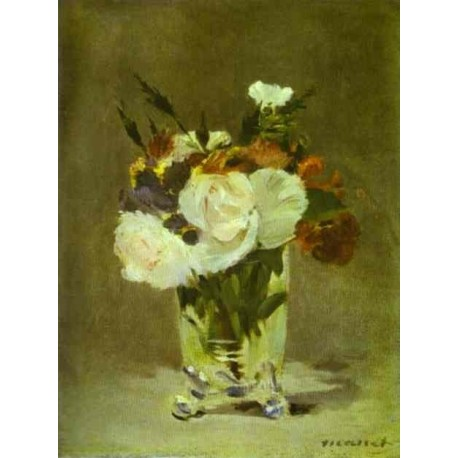 Flowers in a Crystal Vase 1882 by Edouard Manet - Art gallery oil painting reproductions