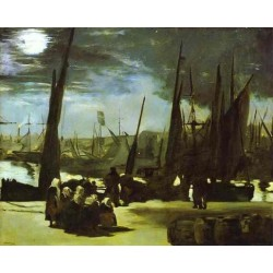 Moonlight over the Port of Boulogne 1869  By Edouard Manet - Art gallery oil painting reproductions
