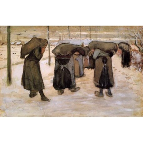 Women Miners Carring Coal by Vincent Van Gogh - Art gallery oil painting reproductions